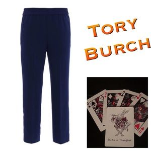 New Tory Burch Addison Tapered Pant Sz 12 Navy Sea